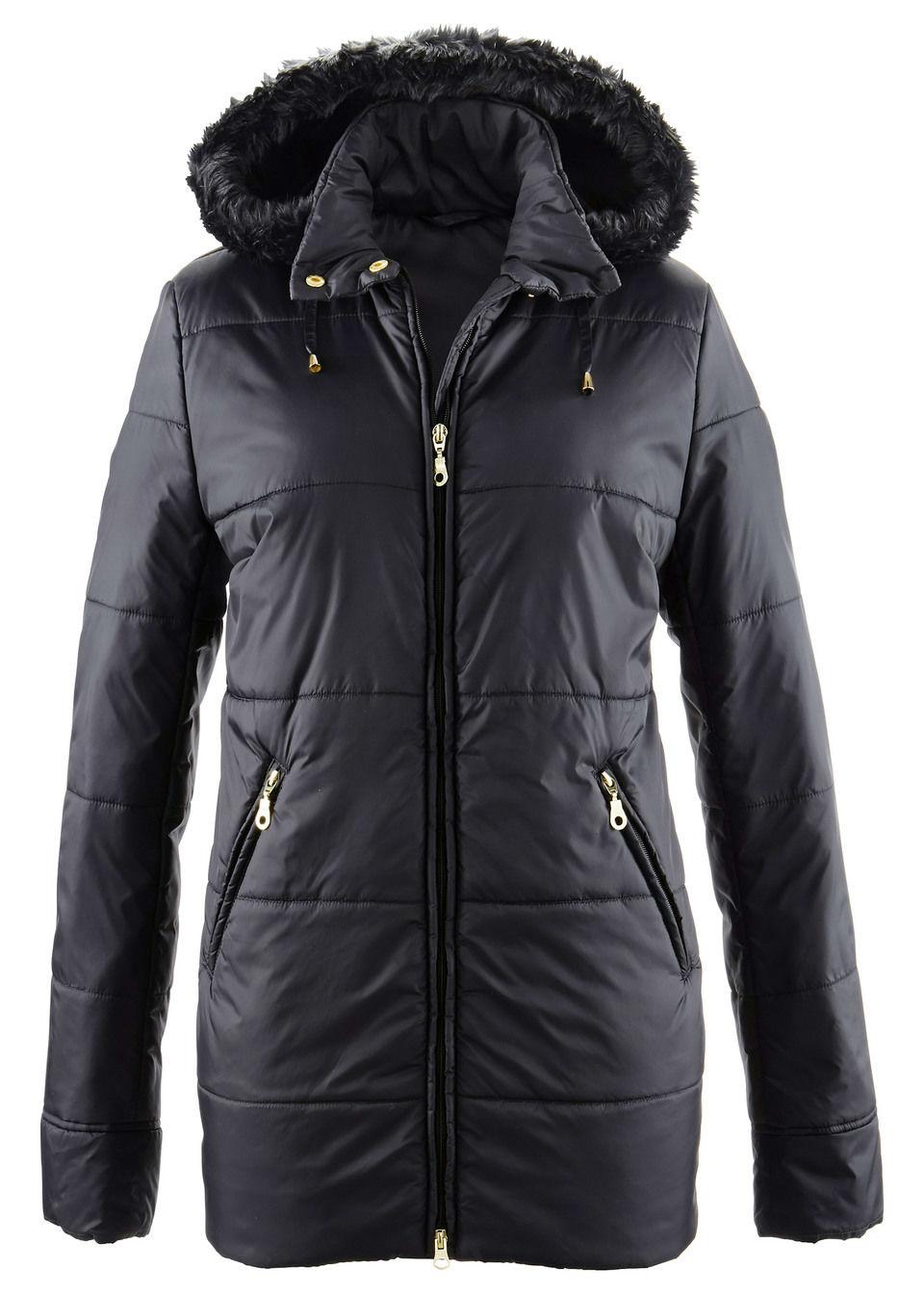 Купить Куртки и плащи, Куртка с опушкой из искусственного меха, bonprix, черный