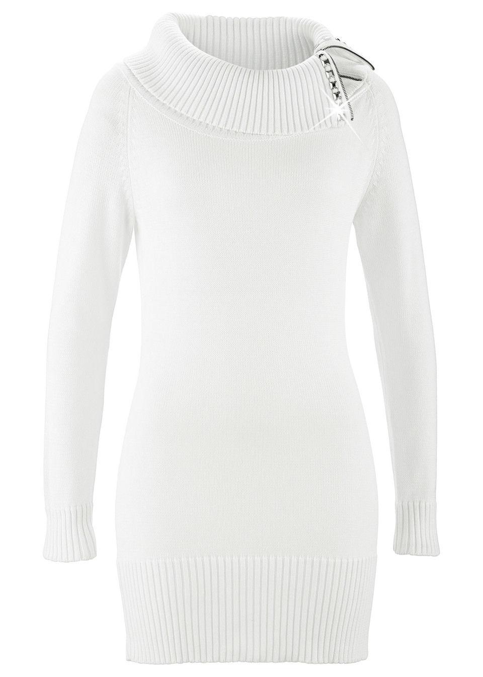Купить Пуловер удлиненного покроя, bonprix, цвет белой шерсти