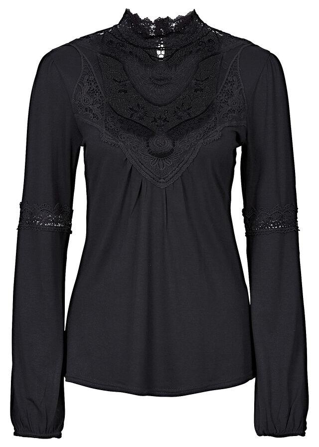 9442db590288 Tričko s čipkou čierna Krásne tričko • 17.99 € • bonprix
