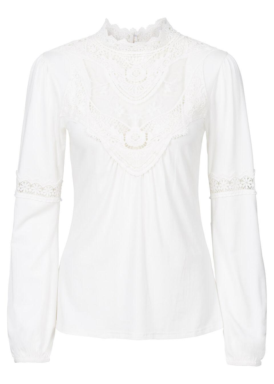 Shirt z koronką i długim rękawem bonprix biel wełny