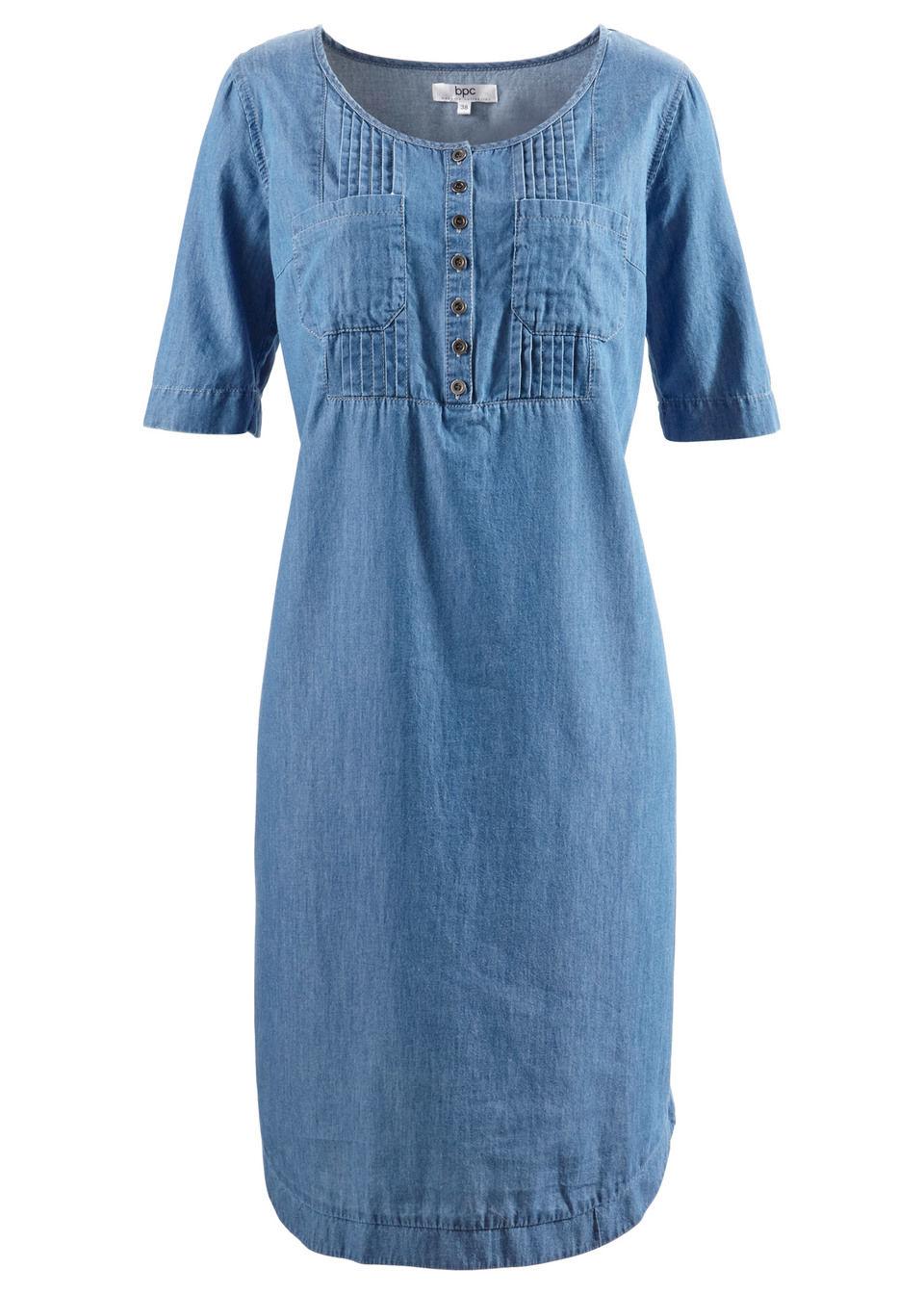 Купить Джинсовое платье с коротким рукавом, bonprix, синий «потертый»