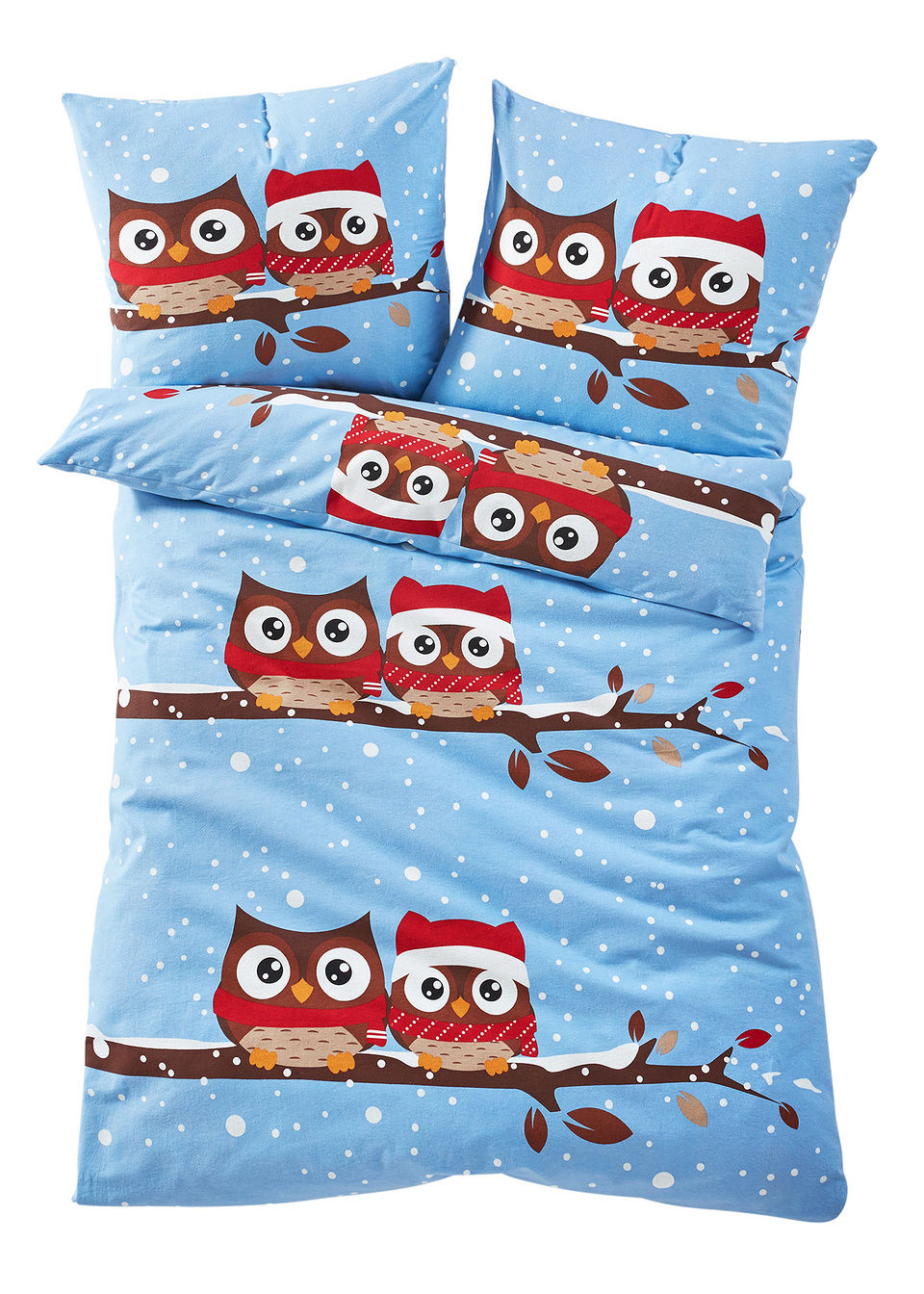 """tekstylia do sypialni pościel """"sowy zimowe"""" bonprix niebieski - bonprix"""