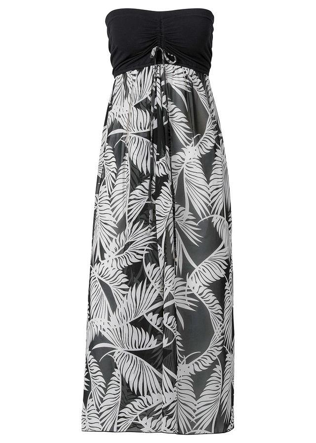 822b50487b62 Plážové šaty čierna biela Elastický top • 21.99 € • bonprix