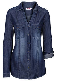 Długa bluzka dżinsowa ciemnoniebieski