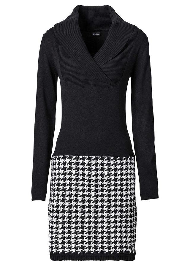 Pletené šaty čierna biela vlna Prekrásne • 24.99 € • bonprix d31159a4e76