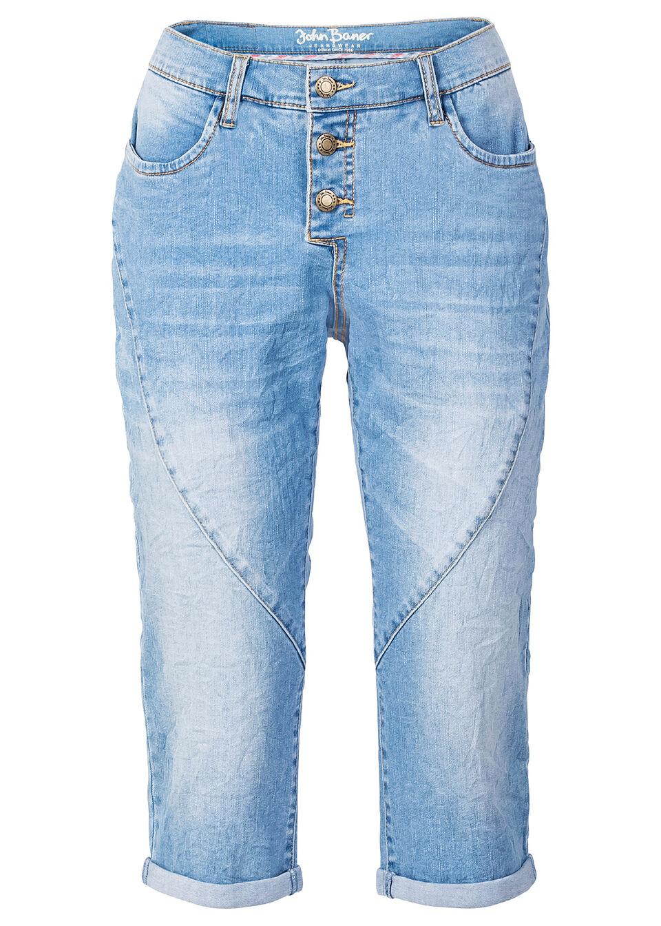 Суперэластичные джинсы-капри в стиле «бойфренд»