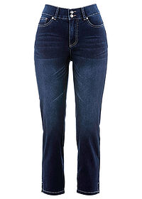 Dżinsy push-up 7/8 ze stretchem i rozcięciem, STRAIGHT ciemny denim bpc bonprix collection 0