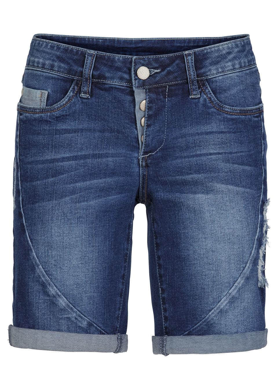 Купить Джинсы, Джинсовые шорты, bonprix, синий «потертый»