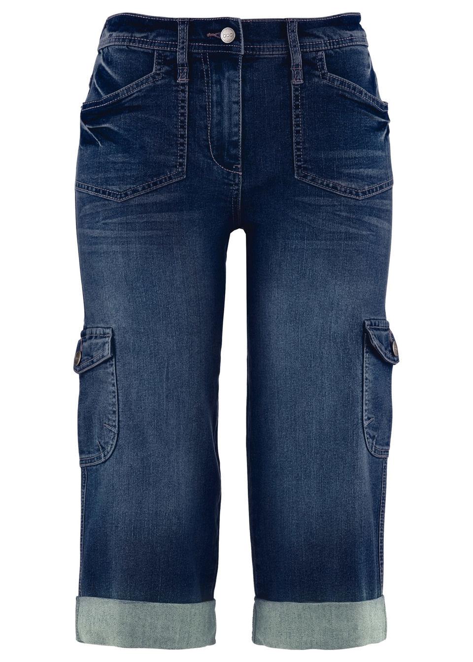Эластичные джинсы-капри с карманами карго