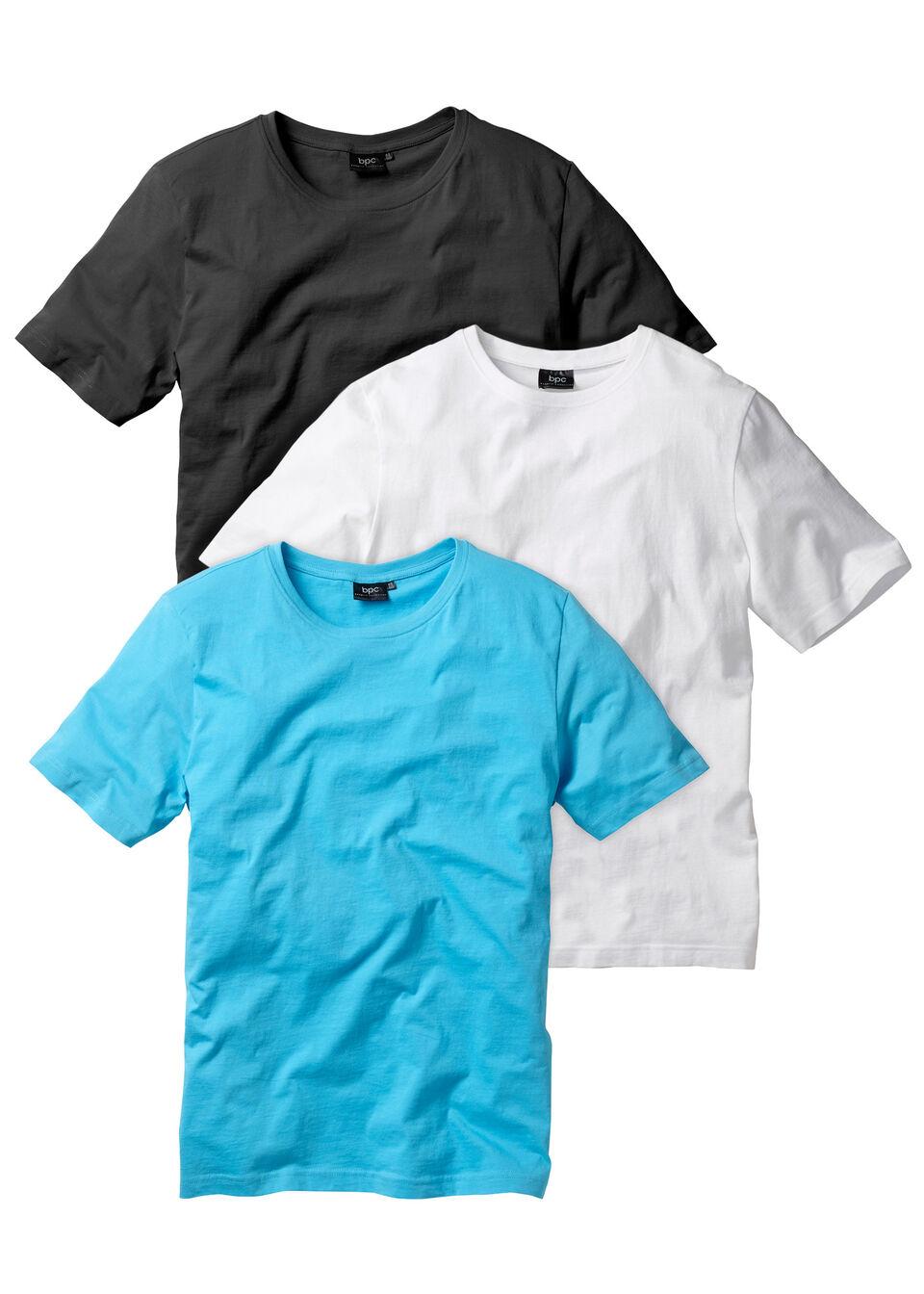 T-shirt (3 szt.) bonprix biały + turkusowy + czarny