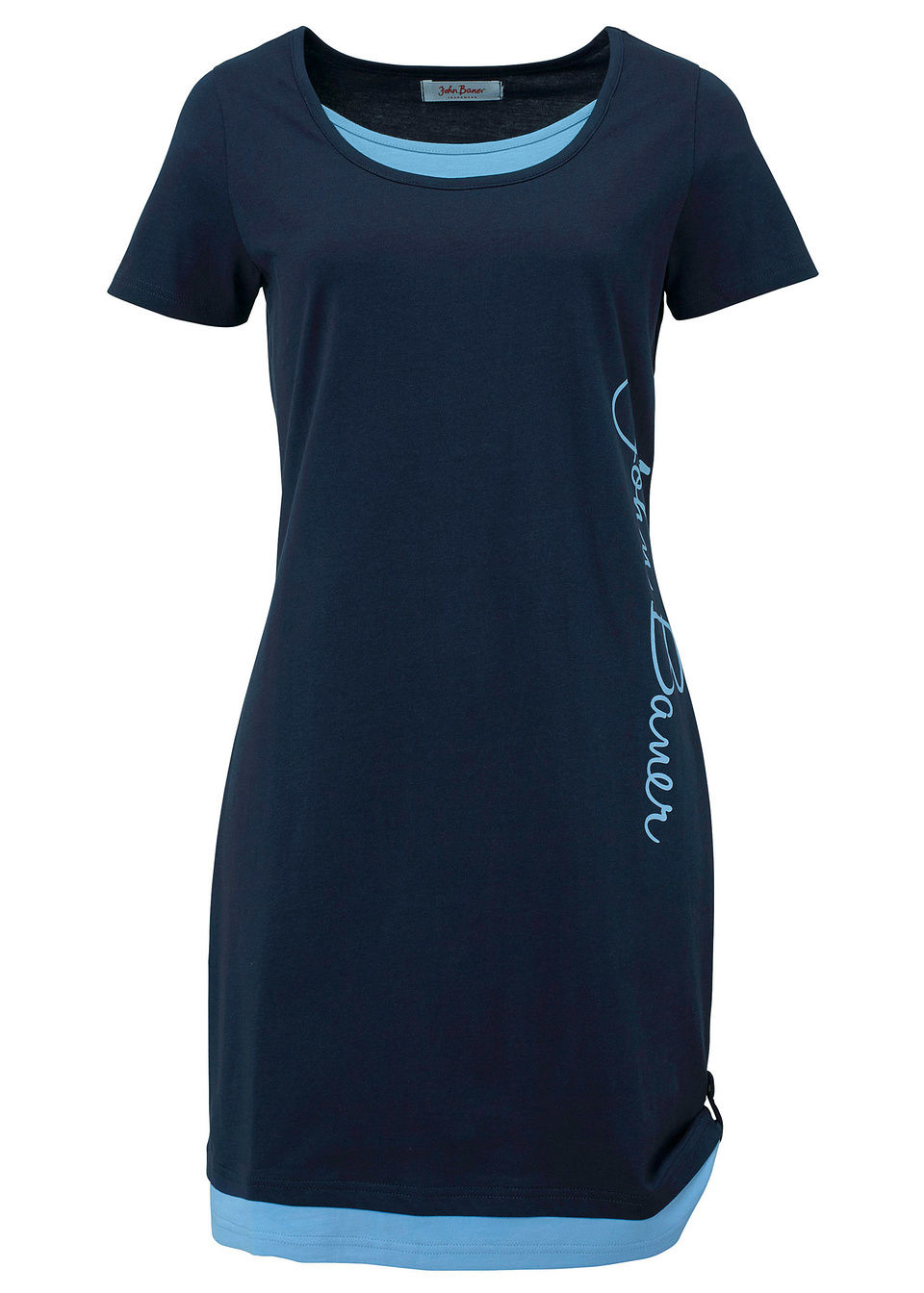 Трикотажное платье с принтом и коротким рукавом от bonprix