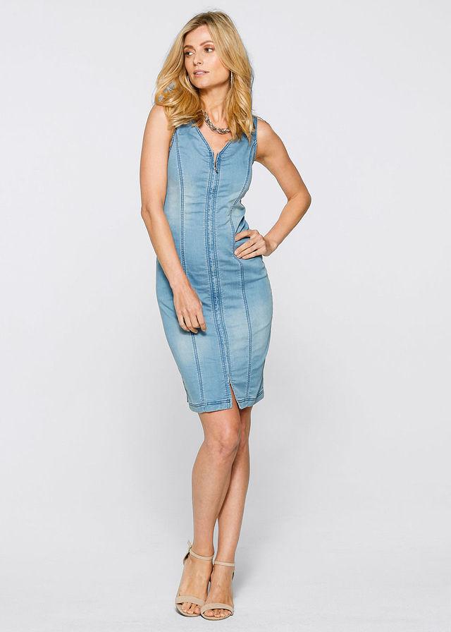 5161c036619c Džínsové šaty so zipsom modrá bleached • 39.99 € • bonprix