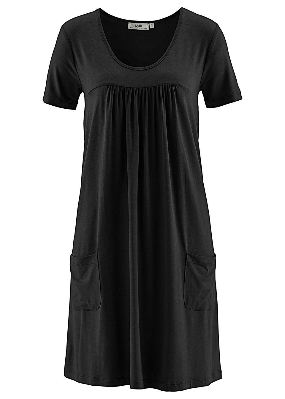 Sukienka z dżerseju, krótki rękaw bonprix czarny