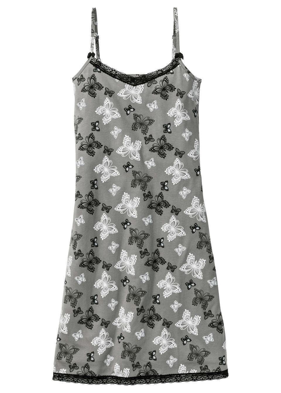 Koszula nocna bonprix szary łupkowy z nadrukiem