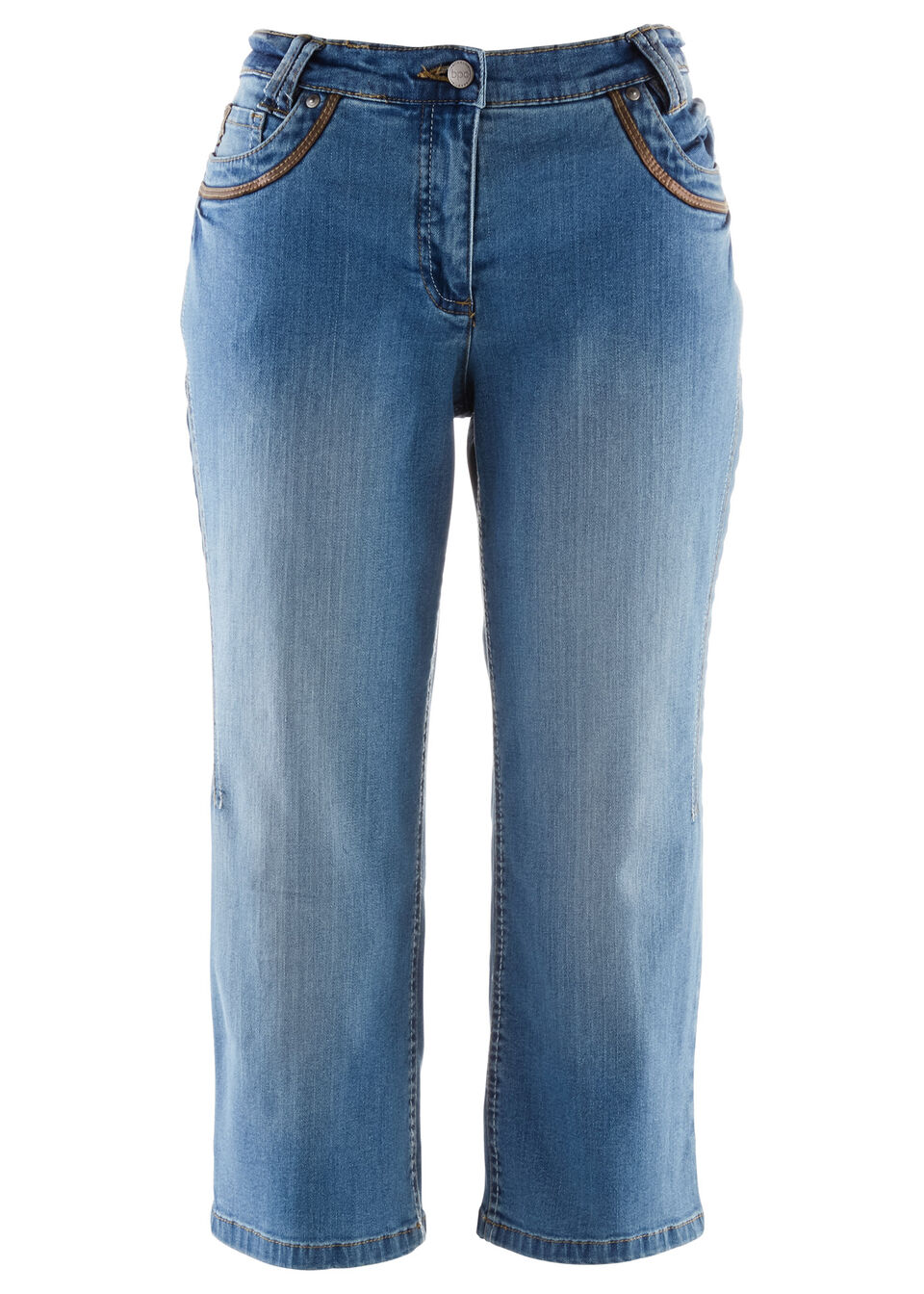 Купить Джинсы, Капри джинсовые, bonprix, синий «потертый»