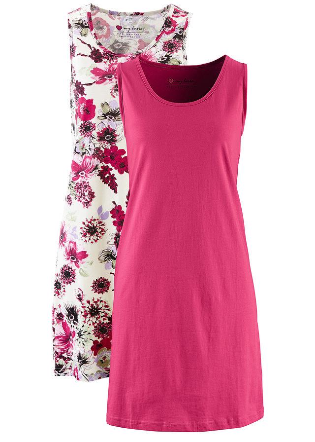 1d2da3342f2d Džersejové šaty (2 ks) • štrkovo béžová potlačená+bobuľovo červená • bonprix  obchod