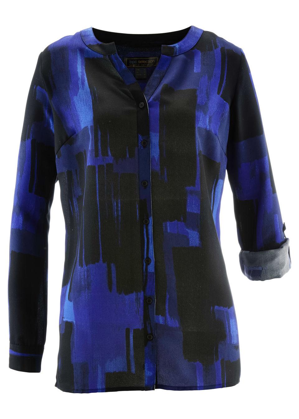 Купить Удлиненная блузка с принтом, bonprix, сапфирно-синий/черный