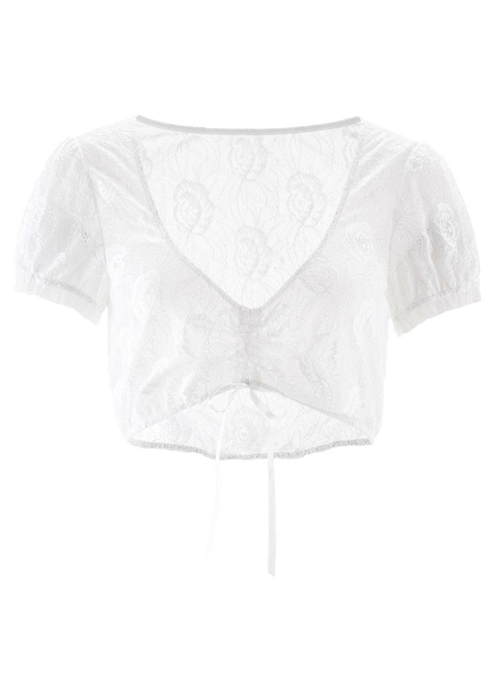 Bluzka koronkowa w ludowym stylu bonprix biały