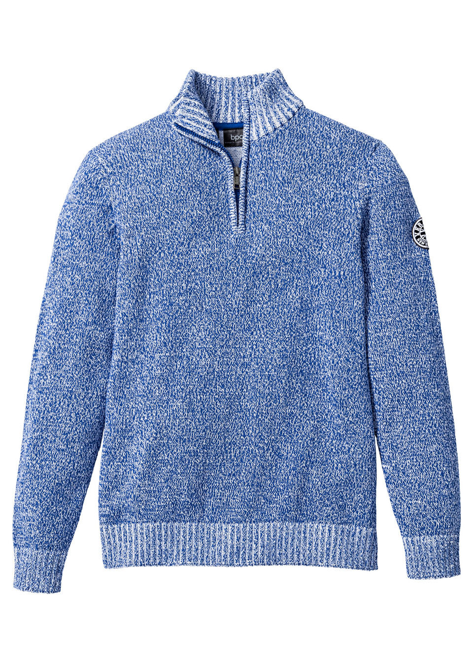 Купить Пуловер Regular Fit с высоким воротом на молнии, bonprix, синий-белый меланж