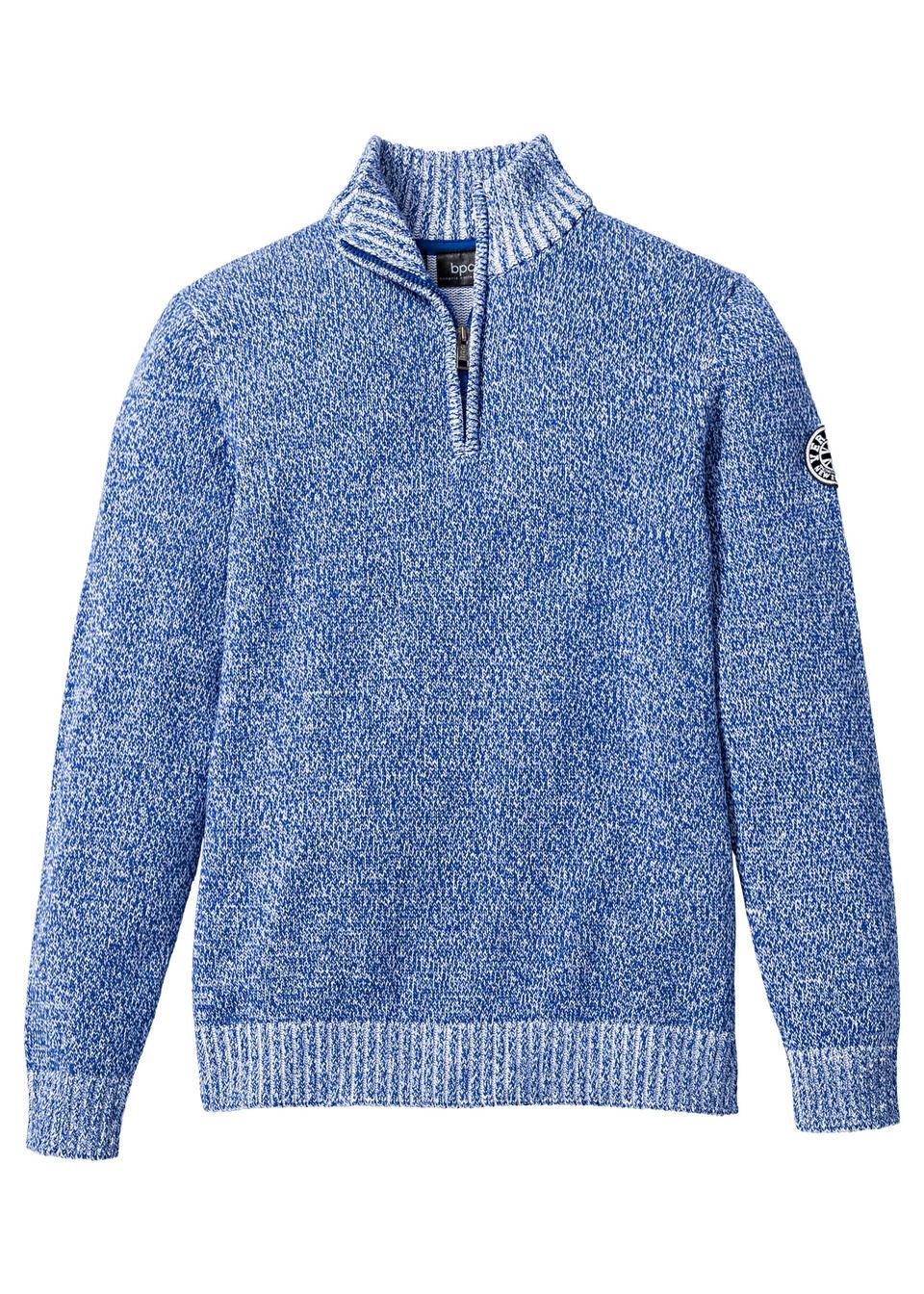 Купить Пуловер с высоким воротом, bonprix, синий-белый меланж