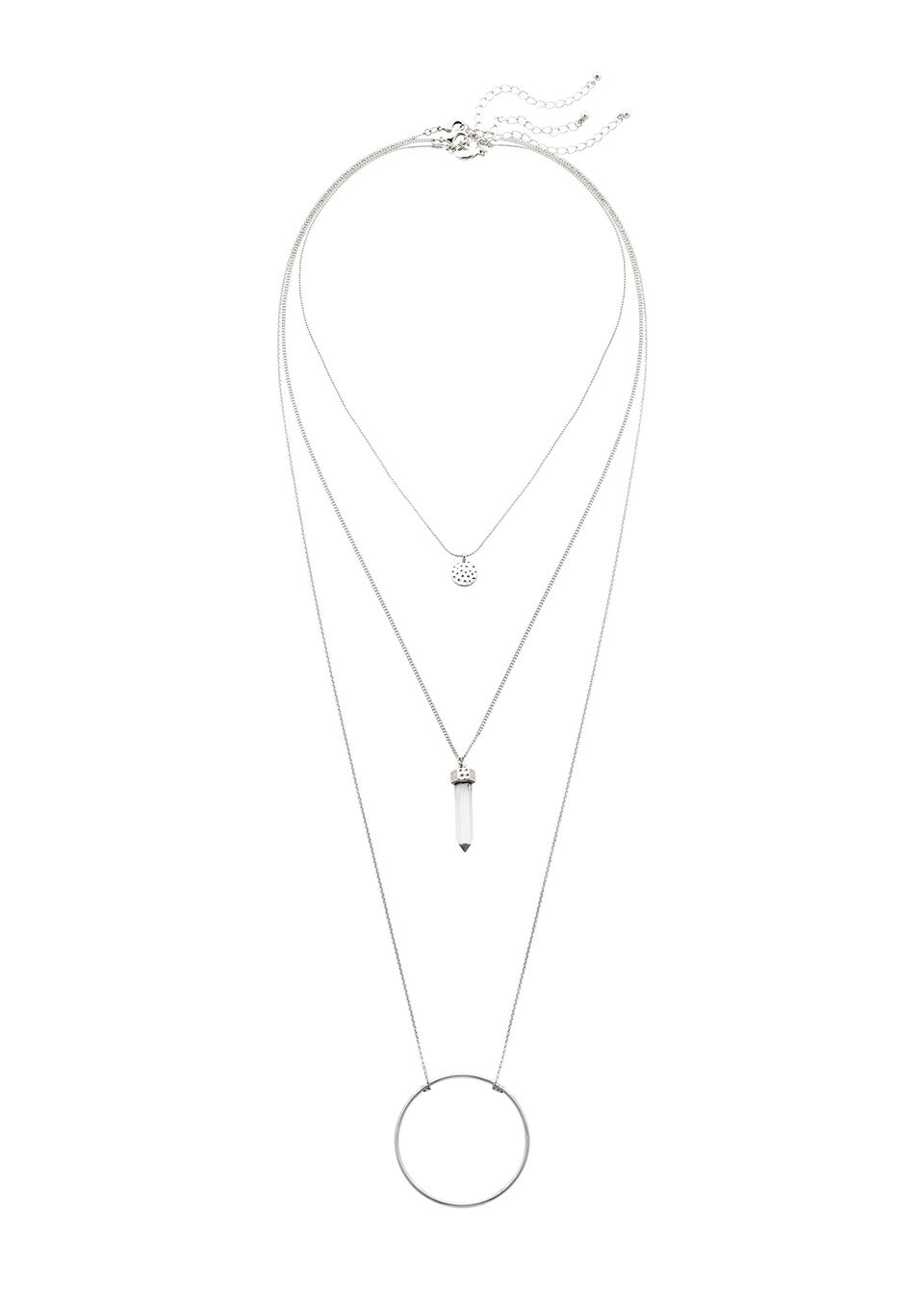 Komplet łańcuszków (3 części) bonprix srebrny kolor