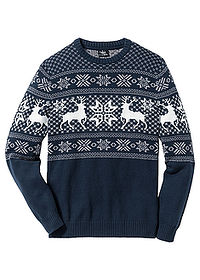 Sweter w norweski wzór ciemnoniebieski bpc bonprix collection 0