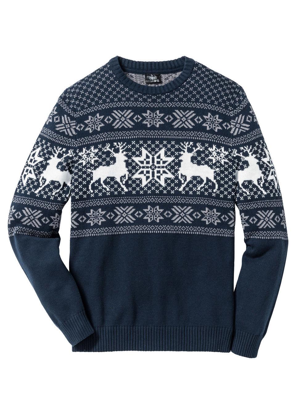 Купить Свитера, Пуловер с норвежским узором, bonprix, темно-синий