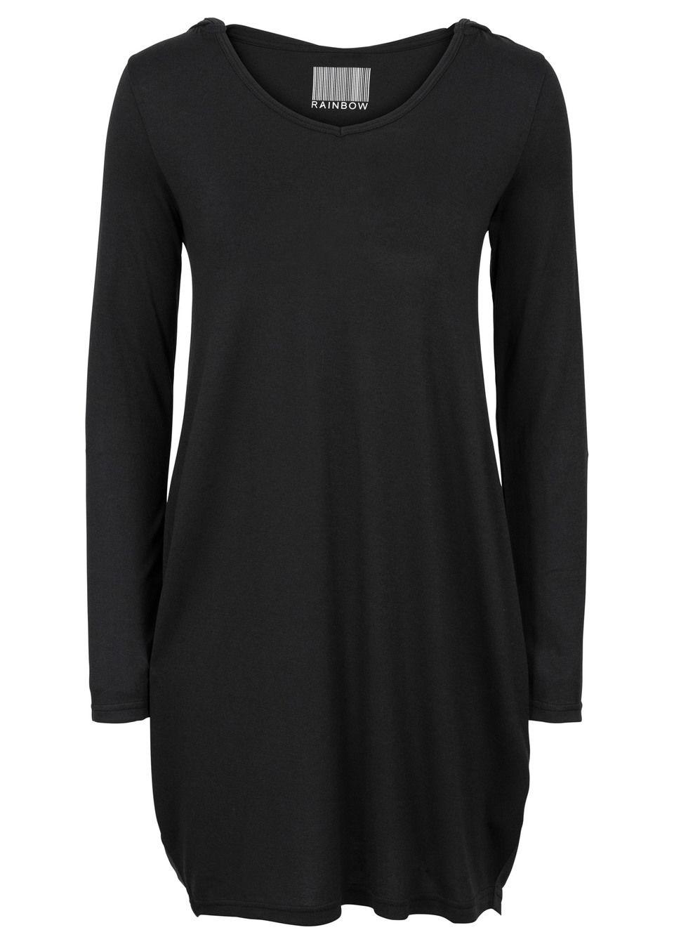 Sukienka shirtowa z kapturem bonprix czarny