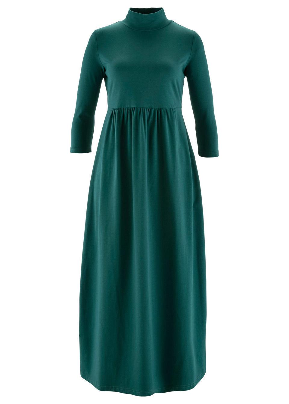 Sukienka shirtowa midi, rękawy 3/4 bonprix niebieskozielony