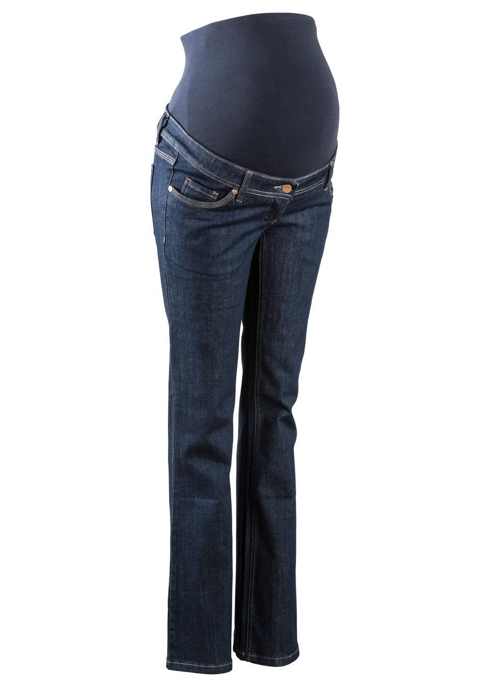Купить Для будущих мам: джинсы с широкими брючинами, bonprix, темный деним