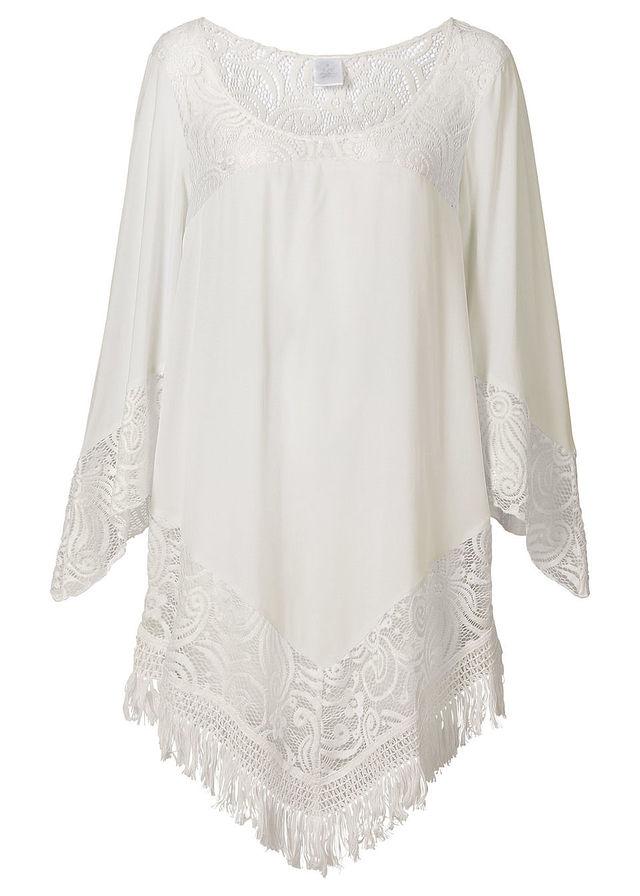 Plážová tunika biela S čipkou na výstrihu • 21.99 € • bonprix 5ee18d21312