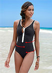 Costum de baie modelator negru/alb bpc bonprix collection 4