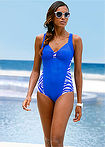 Costum de baie albastru regal/alb zebrat bpc bonprix collection 0
