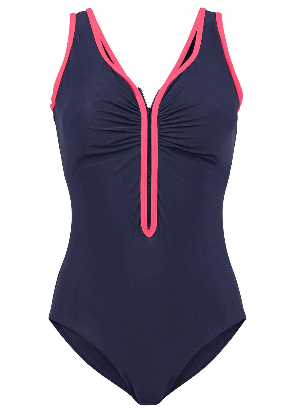 Kostium kąpielowy shape Level 1 bonprix niebiesko-różowy