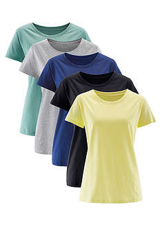 Tricou decolteu rotund (5buc.) bpc bonprix collection 0