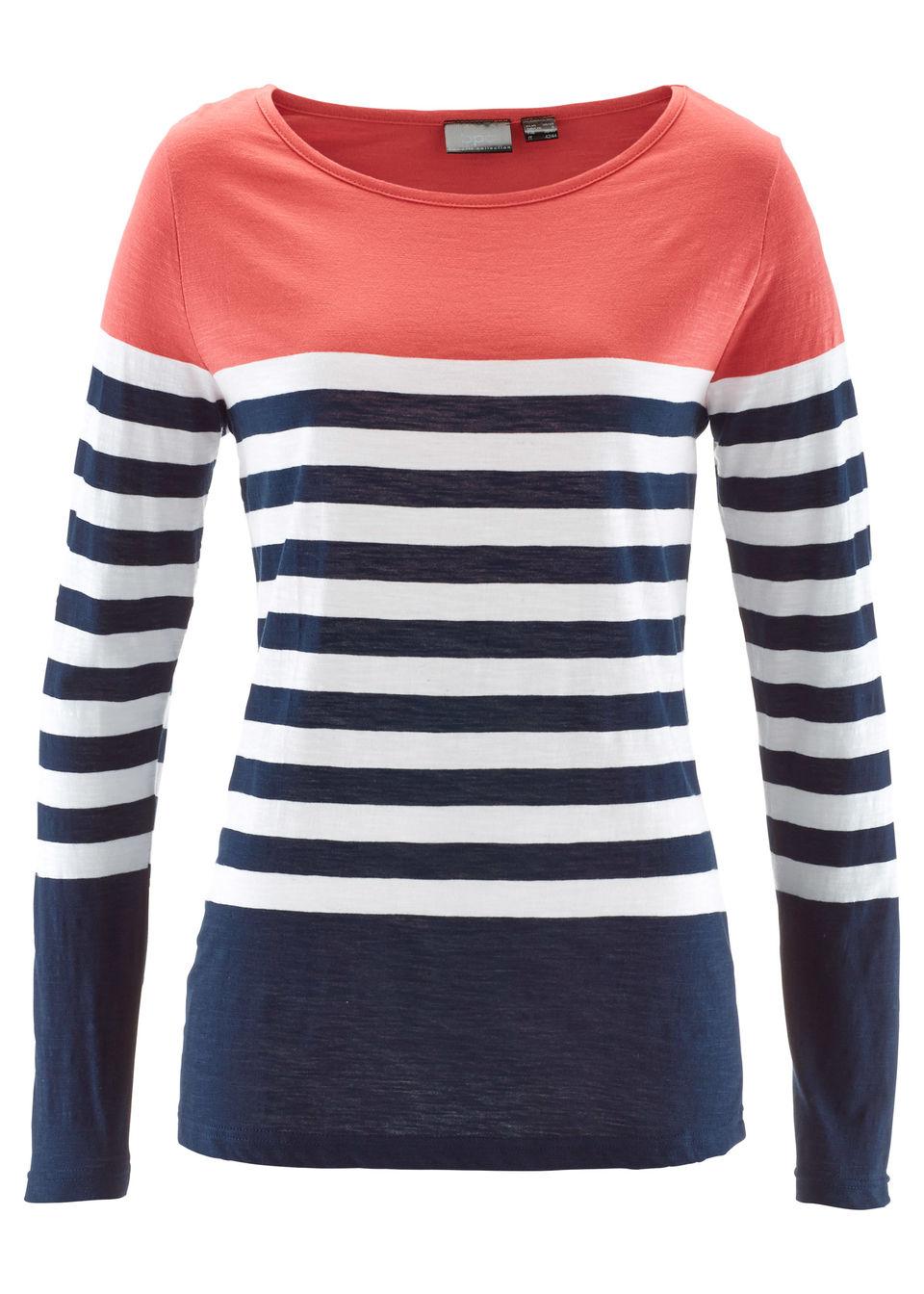 Shirt z długim rękawem, z bawełny bonprix koralowo-biało-ciemnoniebieski w paski