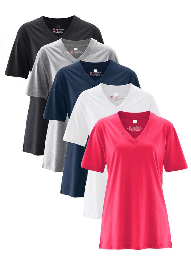 d875f7e124 Hosszú póló (5 db-os csomag) • hibiszkuszpink+világosszürke melírozott+fehér