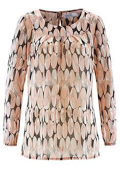 Tunika bluzkowa stary jasnoróżowy z nadrukiem