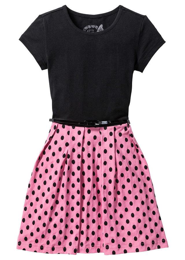 Šaty s opaskom čierna-sýta ružová • 11.99 € • bonprix 8bd49cb009a