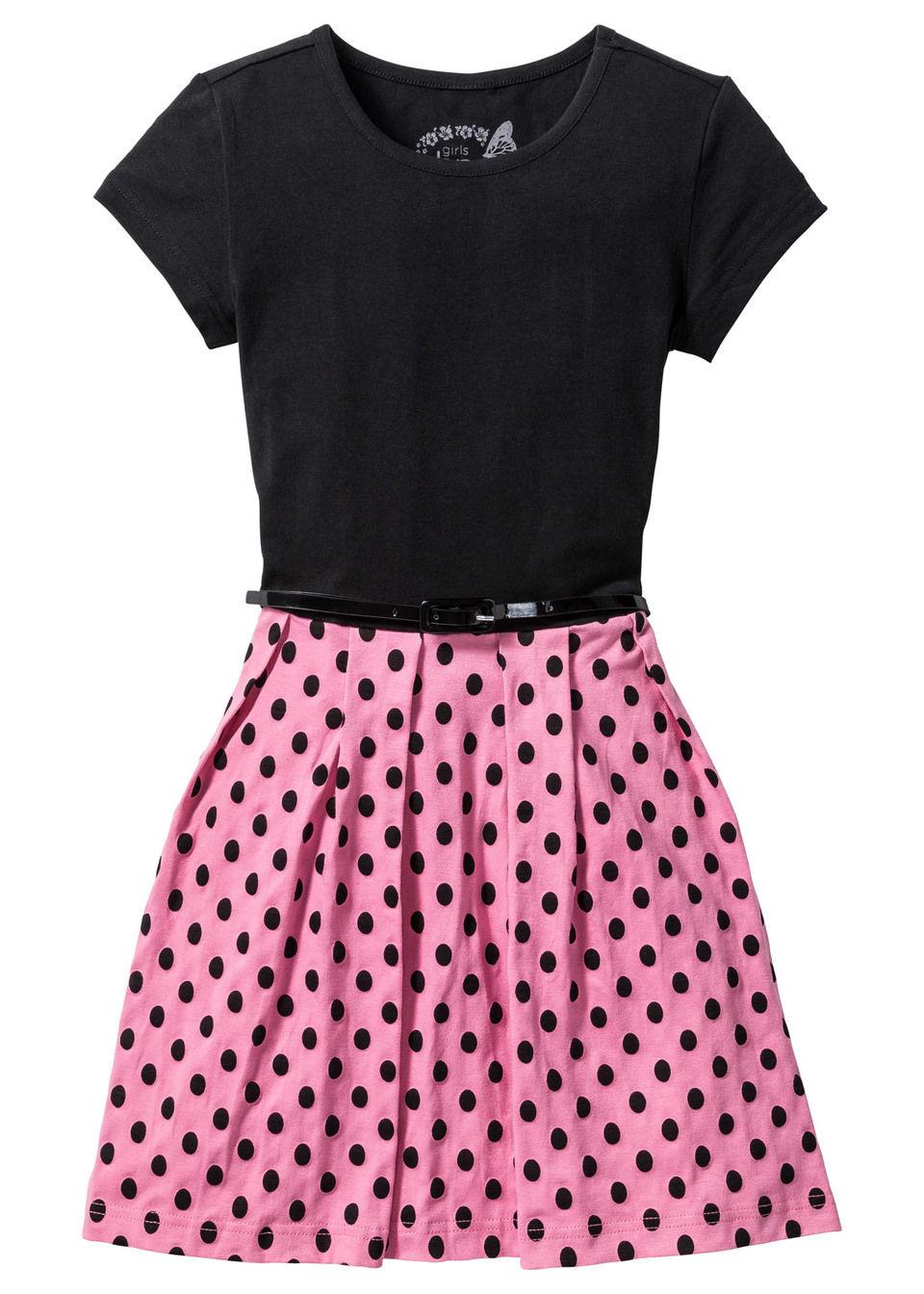Sukienka dziewczęca z paskiem bonprix czarno-jaskrawy jasnoróżowy