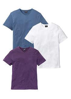 T-shirt z dekoltem w serek (3 szt.) jagodowy + niebieski dżins + biały