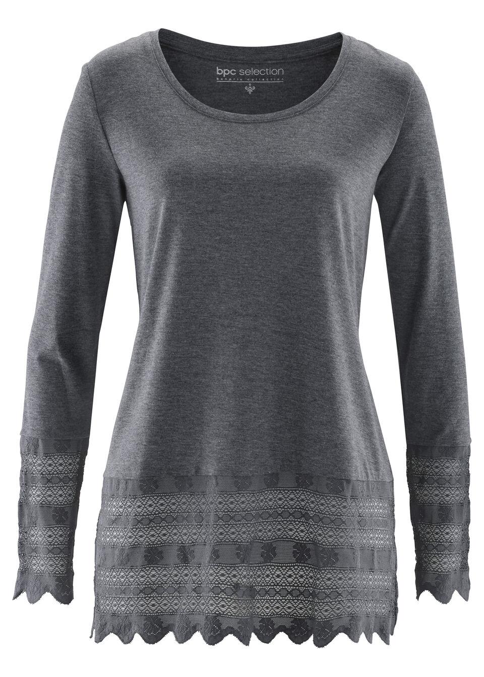 Купить Блузки, Удлиненная футболка с кружевом, bonprix, серый меланж