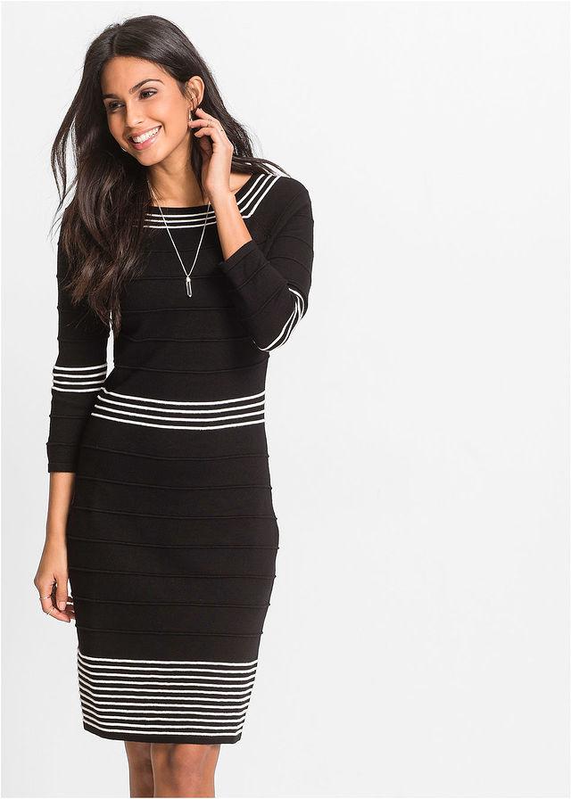 Pletené šaty tmavomodrá biela Jemné • 21.99 € • bonprix 0b373e8f847