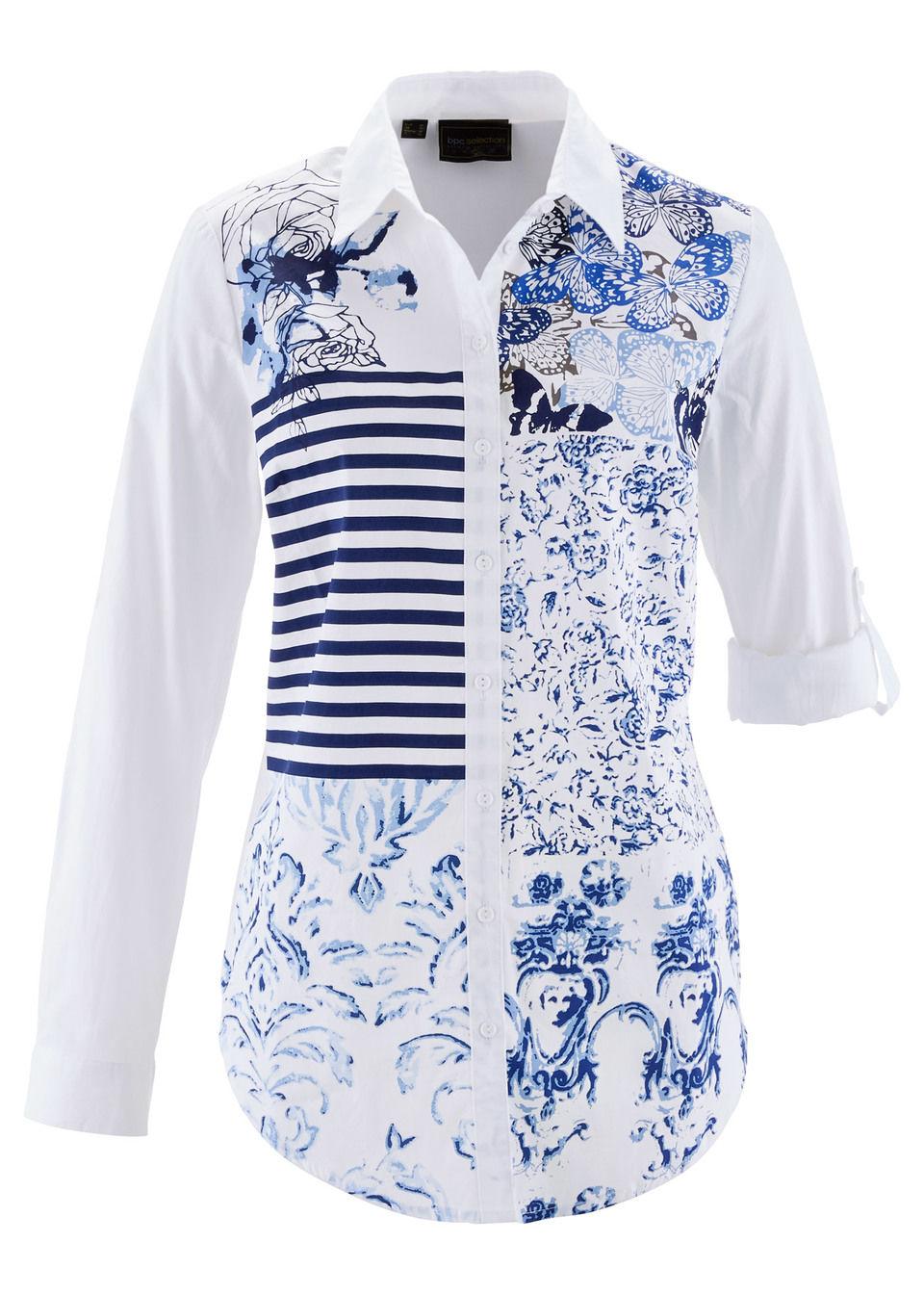 Купить Блузка с принтом «пэчворк», bonprix, темно-синий-голубой с рисунком