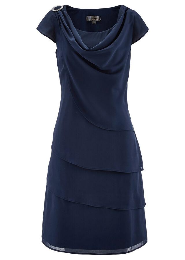 8dd3d0a431 Sukienka szyfonowa w optyce warstwowej • ciemnoniebieski • bonprix sklep