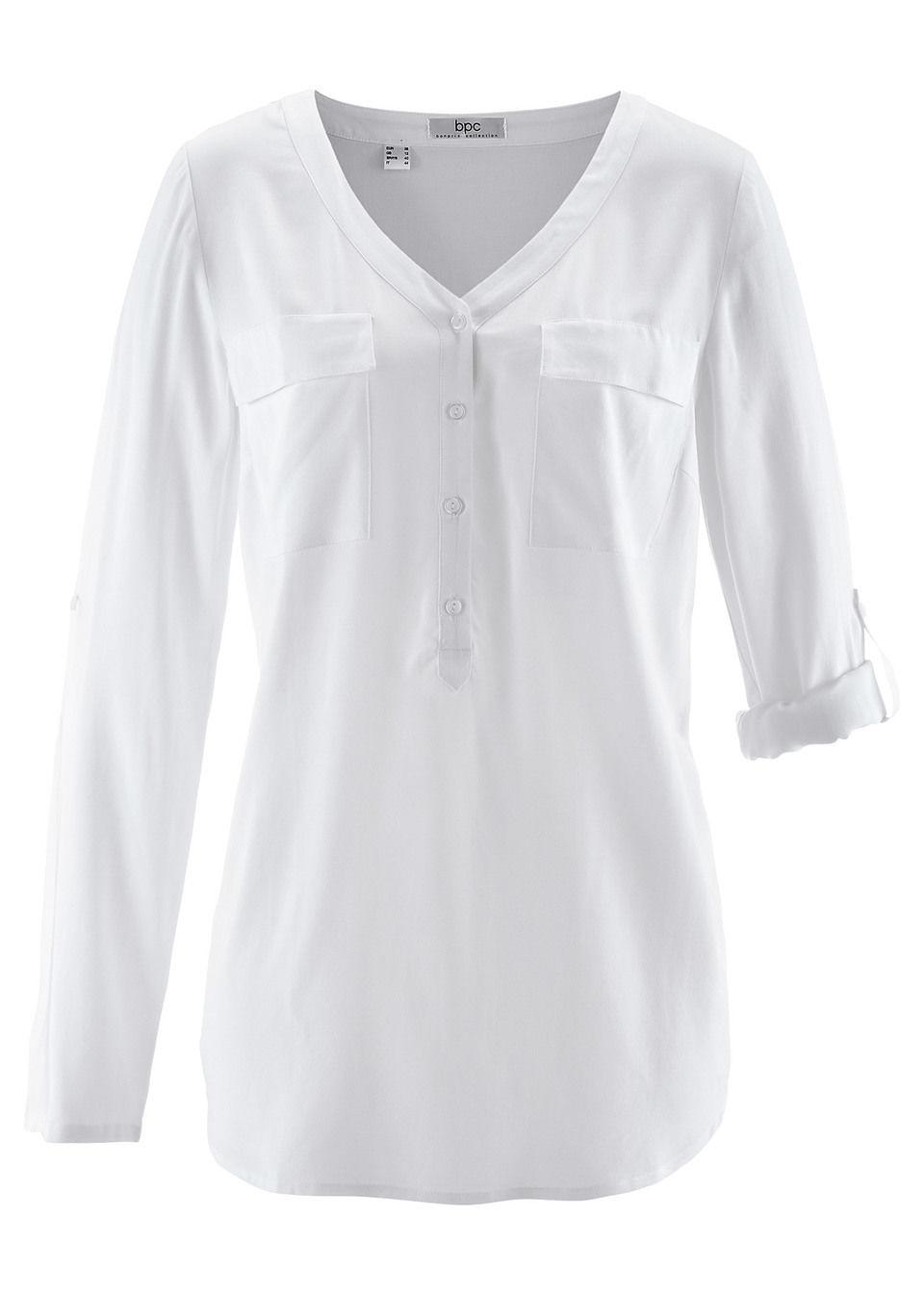 Bluzka z wiskozy z dekoltem w serek, długi rękaw bonprix biały