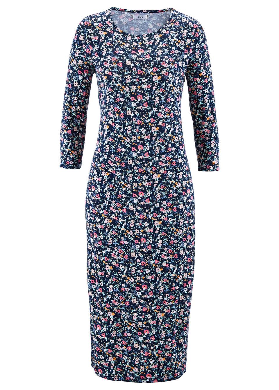 Купить Трикотажное платье с рукавом 3/4, bonprix, темно-синий в цветочек