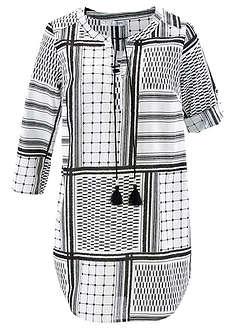 Długa tunika  z rękawami 3/4 czarno-biały wzorzysty
