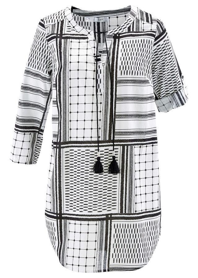 08f25654c6 Długa tunika z rękawami 3 4 czarno-biały wzorzysty • 89.99 zł • bonprix