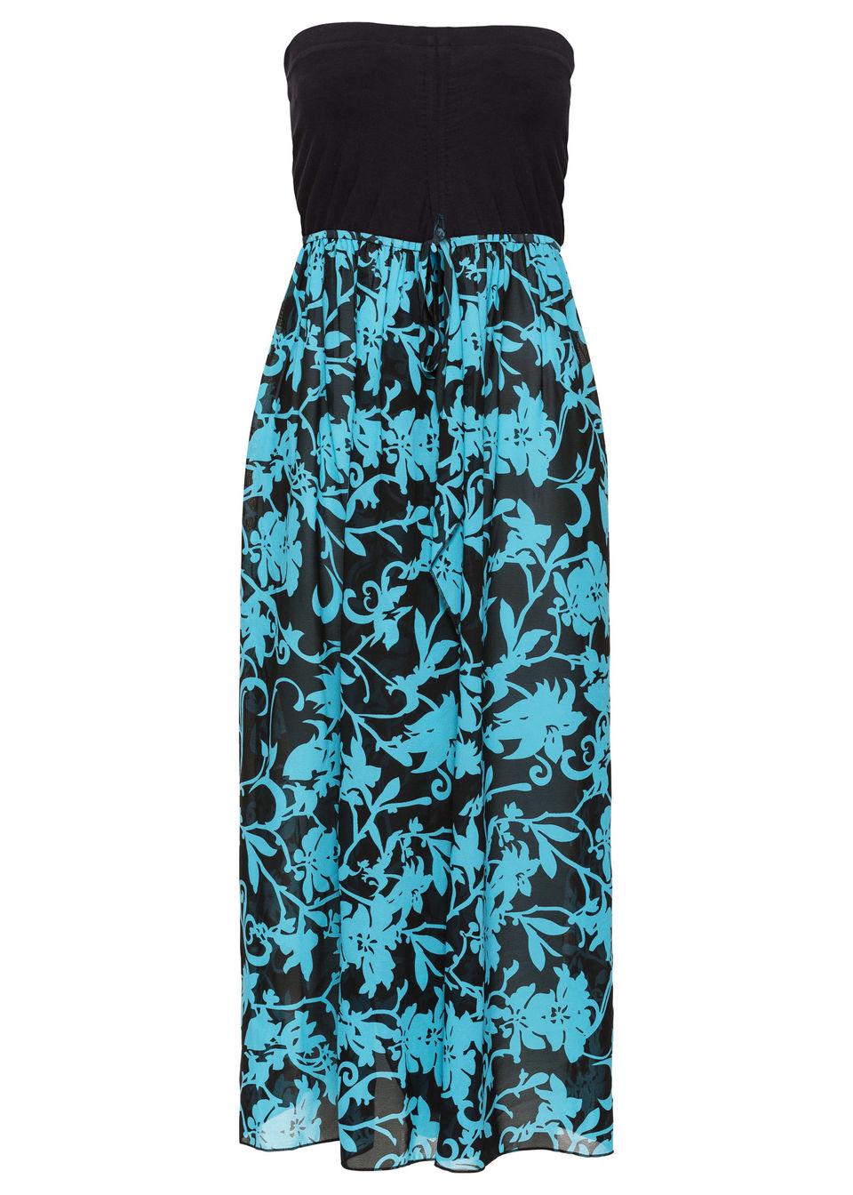 Sukienka plażowa z dekoltem bandeau bonprix Sukienka plaż czar-tur